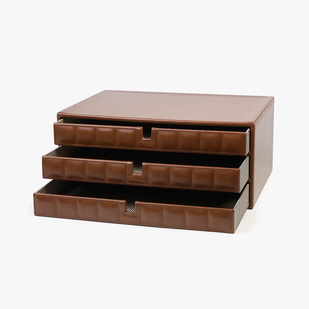 Caixa com 3 Gavetas Castanho 38x26x16 cm