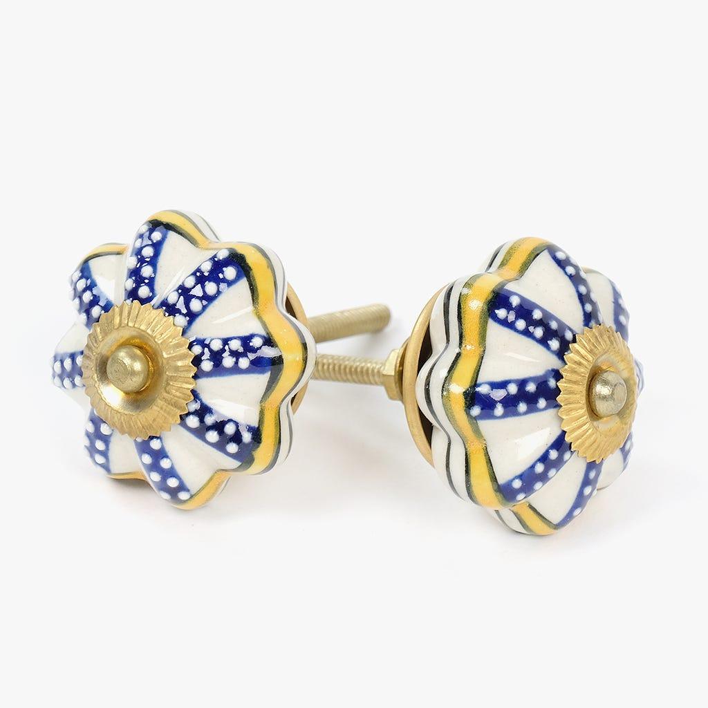 Puxador de Gaveta Pintas Flor Branco e Azul (conjunto2)