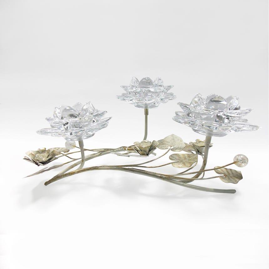 Castiçal 3 Flores 36x20x17 cm