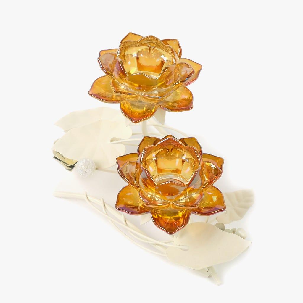 Castiçal 2 Flores Ambar 29x16x16 cm