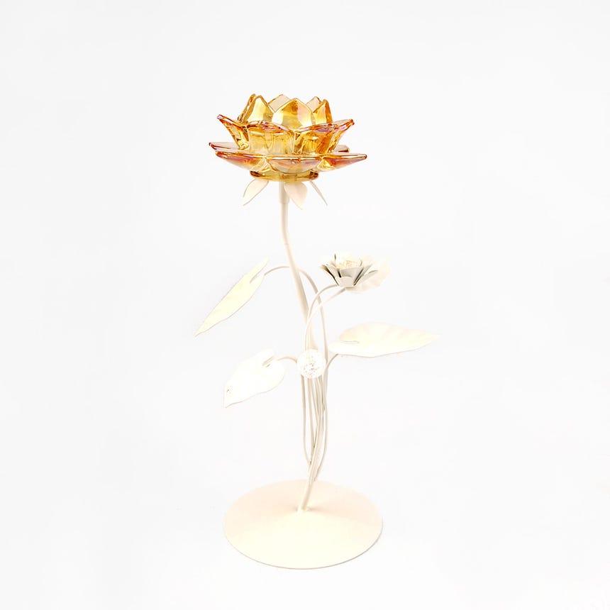 Castiçal Flor Ambar 13x13x34 cm