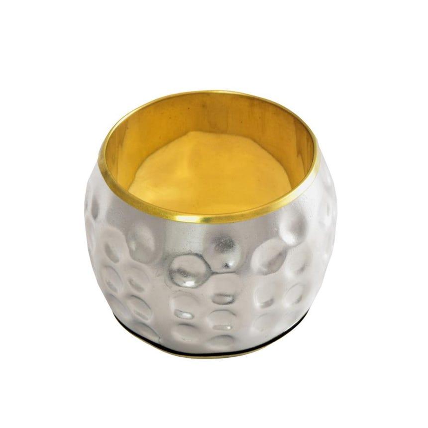 Anel de guardanapo Martelado Prata e Ouro