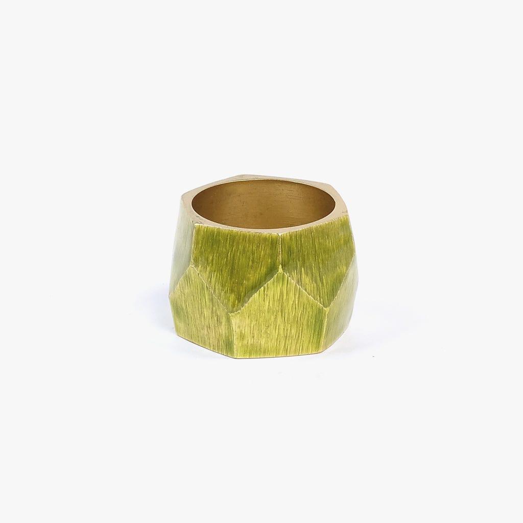 Anel de guardanapo Martelado Ouro e Verde