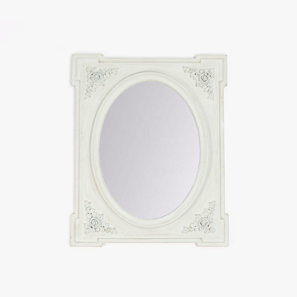 Espelho Rosas Oval Branco 65x80 cm